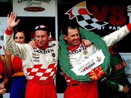 Skaife and driving partner Tony Longhurst after winning Bathurst in 2001.