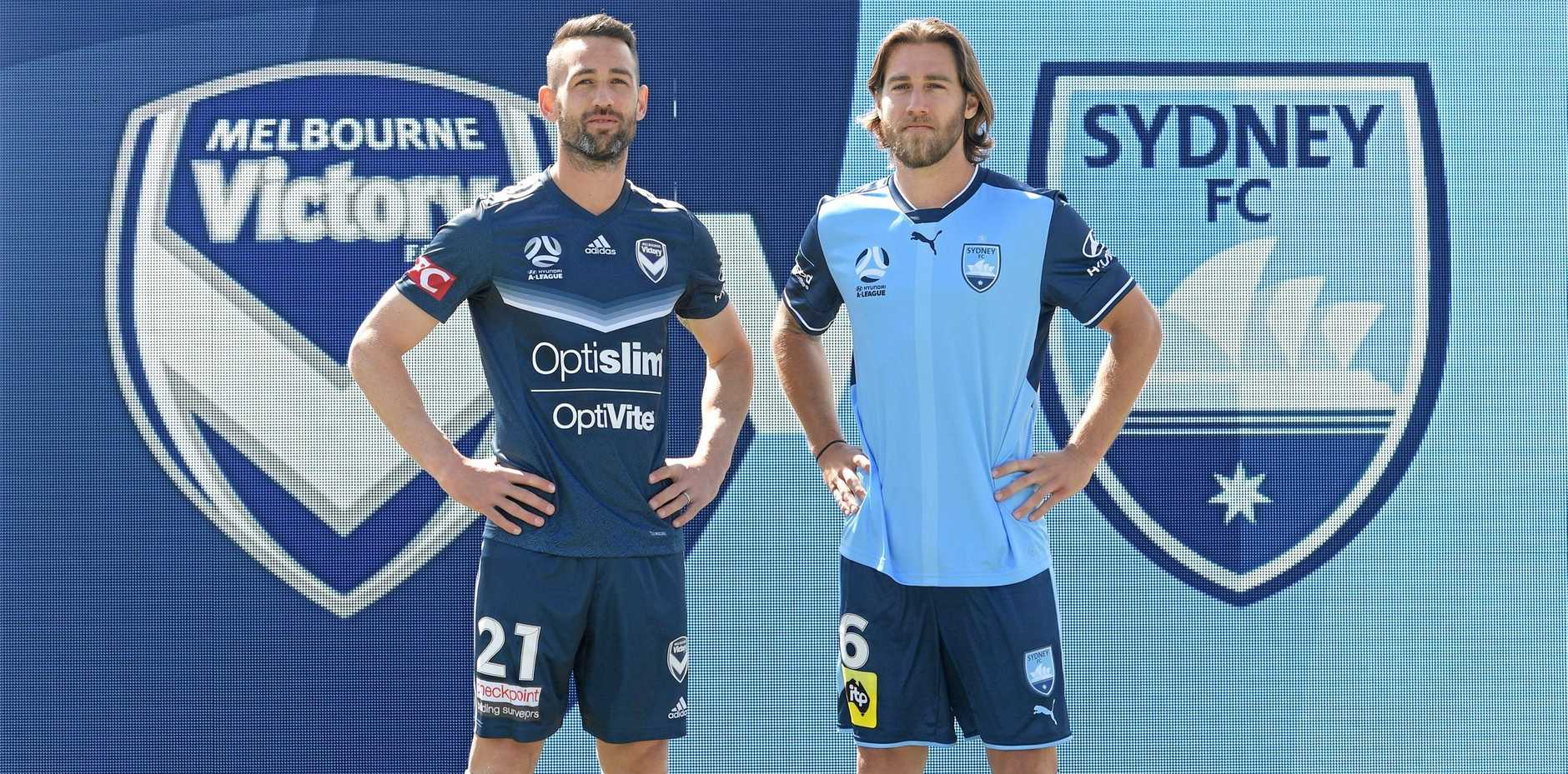READY: Bundaberg and Sydney FC's Josh Brillante (right),  with Melbourne Victory's Carl Valeri, at the official launch of the Hyundai A-League season in Melbourne on Tuesday.