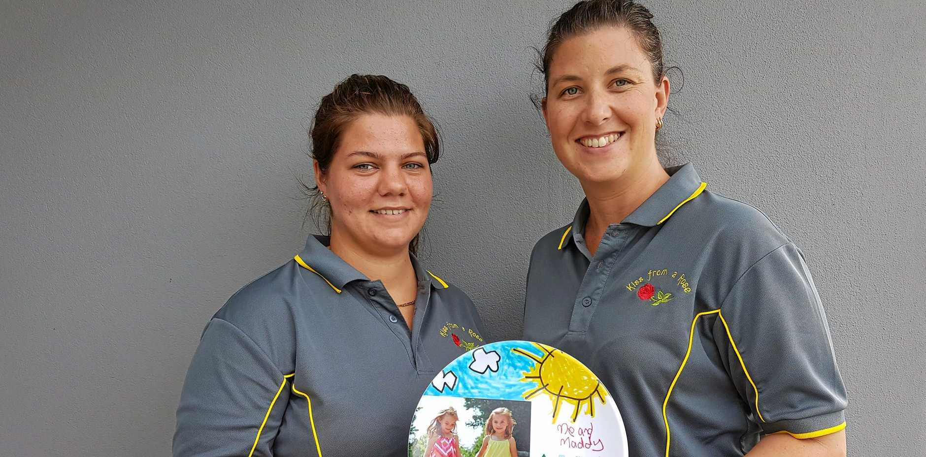 IN MEMORY: Team captain Sky Arnold and fundraiser organiser Mikayla Glossop bonded over losing loved ones to cancer.