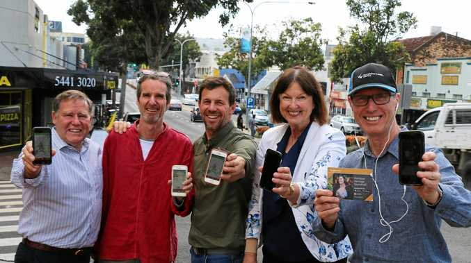 NAMBOUR SOUNDTRAIL: Cr Greg Rogerson, producer Hamish Sewell, narrator Jon Coghill, Cr Jenny McKay and Cr Rick Baberowski test out the Nambour Heritage Soundtrail.