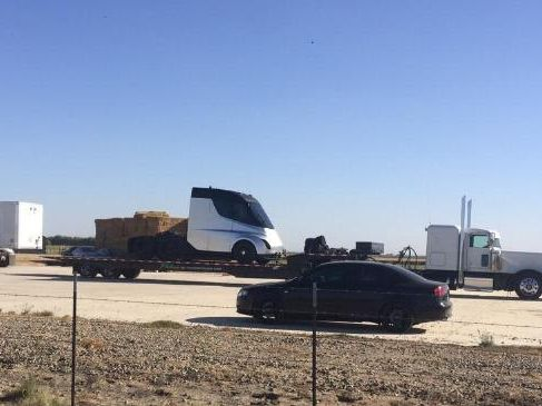 The photo purported to show Tesla's forthcoming electric semi trailer.Source:Supplied