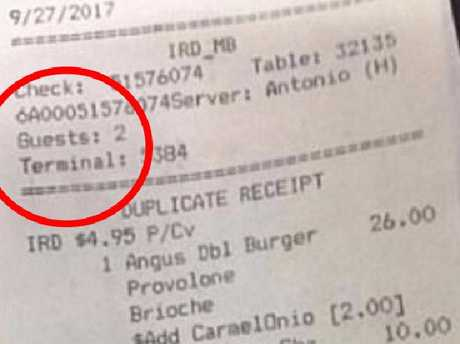 A room service receipt has emerged, purporting to be from the room Stephen Paddock stayed in. Picture: Facebook