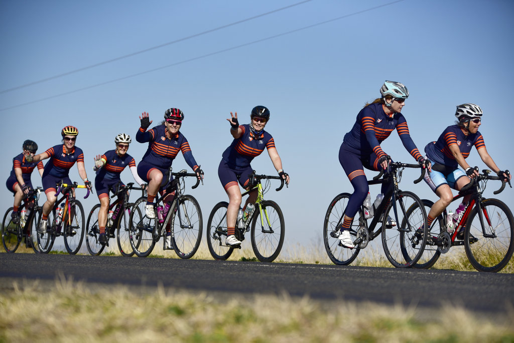 About 30 ladies took part in the bike ride from Brisbane to Meandarra.