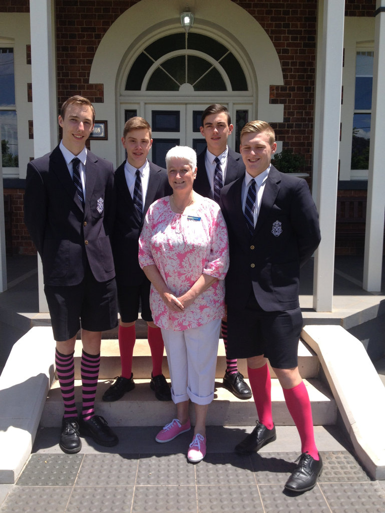 St Mary's College teacher Robyn Chantler with students (from left) Patrick Heberlein, Craig Oldfield, Nickolas Trevisiol and Jarred Tuite.