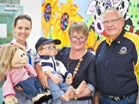 Paediatric nurse Nicki Ackland with Lulu and Professor Kerry Reid-Searl with Dylan and Col Koschel, Lions Club of Westbrook and Districts