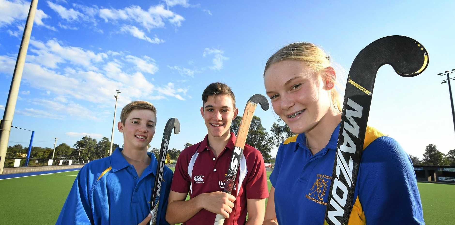 STATE CALL: Aiden Hinds, Matthew Browne and Piper Treeby have been named in the Queensland under-15 hockey squad.