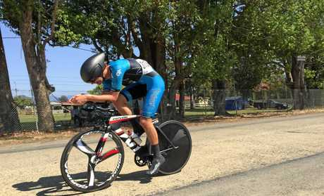 PROMISING: Youngster Jake van der Vliet sprints to the line in a previous race. He'll take part in the final round of the Queensland Road Team Series this weekend.