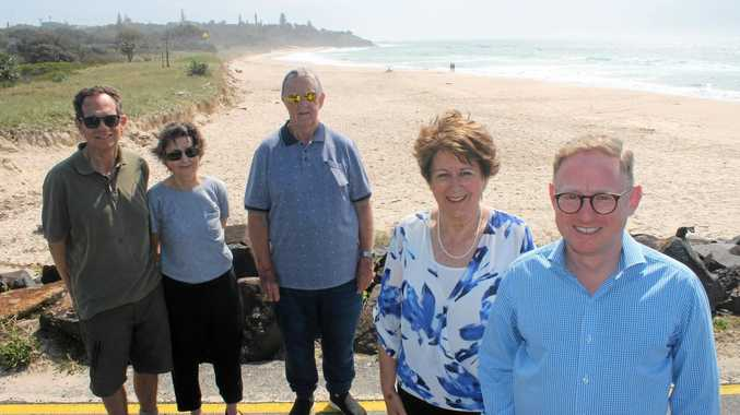 CLEANING UP: Parliamentary Secretary for Northern NSW Ben Franklin (right) announces to Cr Sharon Cadwallader (second from right) and East Ballina residents (from left) Phill (CORRECT) Robbins, Beth Martin and Brian Mullens a State Government grant to allow Ballina council to clean local beaches of flood debris so they look as pristine as Lighthouse Beach.