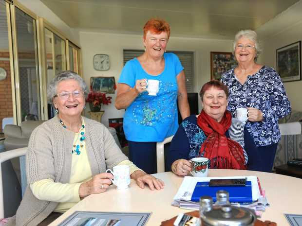 FULL OF CHAT: Yvonne Trenear, Carolyn Read, Elaine Scanlon and Anne Biddulph were Girl Guides.