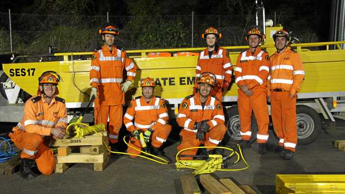 VOLUNTEERING REIMAGINED: The NSW SES have a new initiative, Volunteering Reimagined, to allow more flexibility as well as different options for people to get involved with the Service. Here members of the SES Lismore Unit training for the 2017 National Disaster Rescue Challenge. L-R SES Richmond Tweed Area learning and development officer Matthew Armour with team members Darren Bird, Daniel Martin, Neil Coulter, Karina Essex, and trainers John Stirling and Troy McDonald.