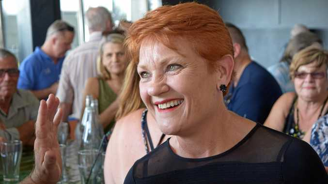 One Nation leader Pauline Hanson talks with patrons during a meet-and-greet at the Brightwater Tavern.