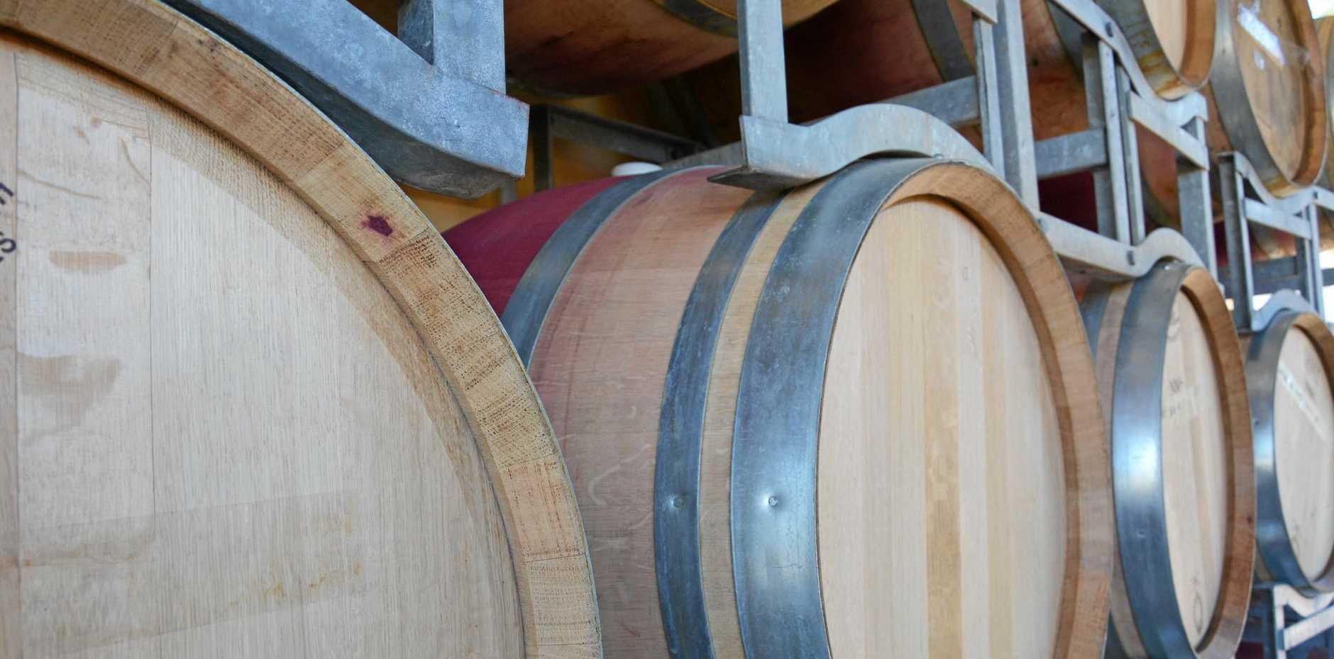 Wine barrels in the Margaret River region in Western Australia.