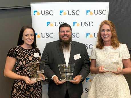 Award winners: Megan Leane, Mathew Davis and Jan Becker.