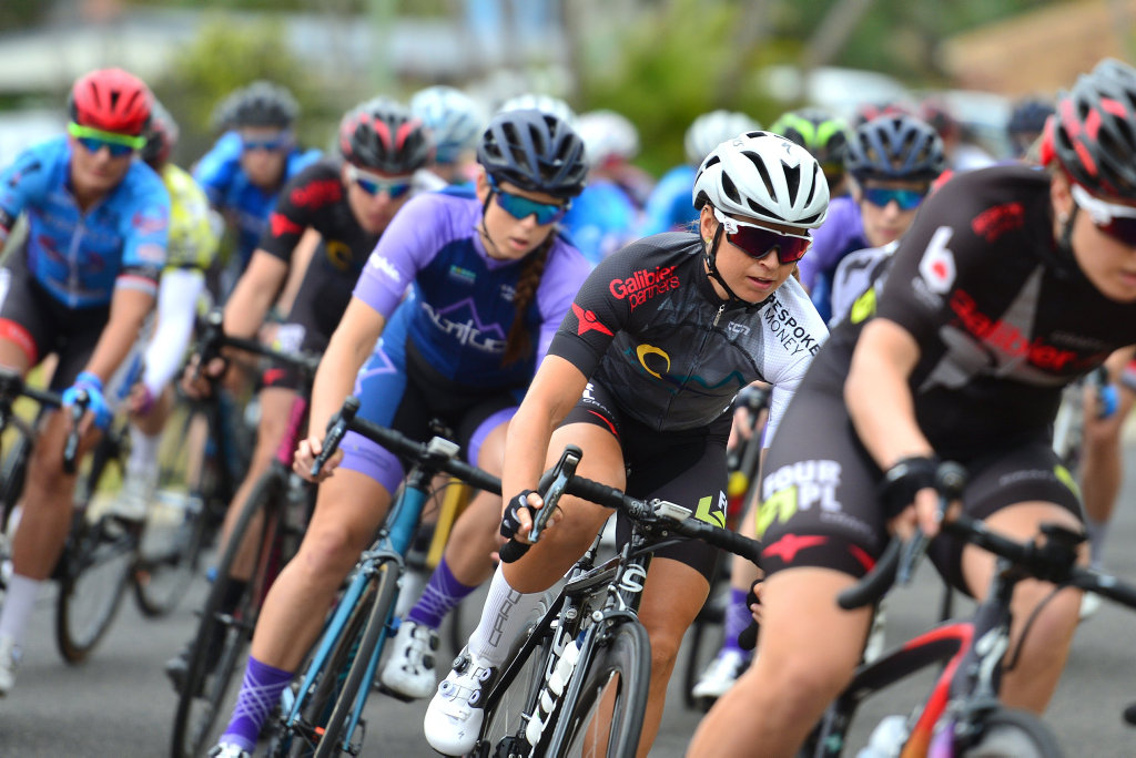Image for sale: Sunshine Coast Cycle Fest in Maroochydore. Queensland road team series. Women's race action.