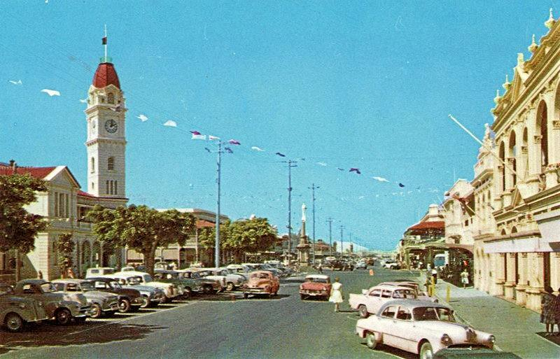 TIME GONE BY: Bourbong St in the middle of last century.