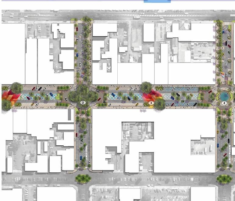 GRAND PLAN: Hassell's plans for the CBD include a new park (1) at the Targo St intersection,