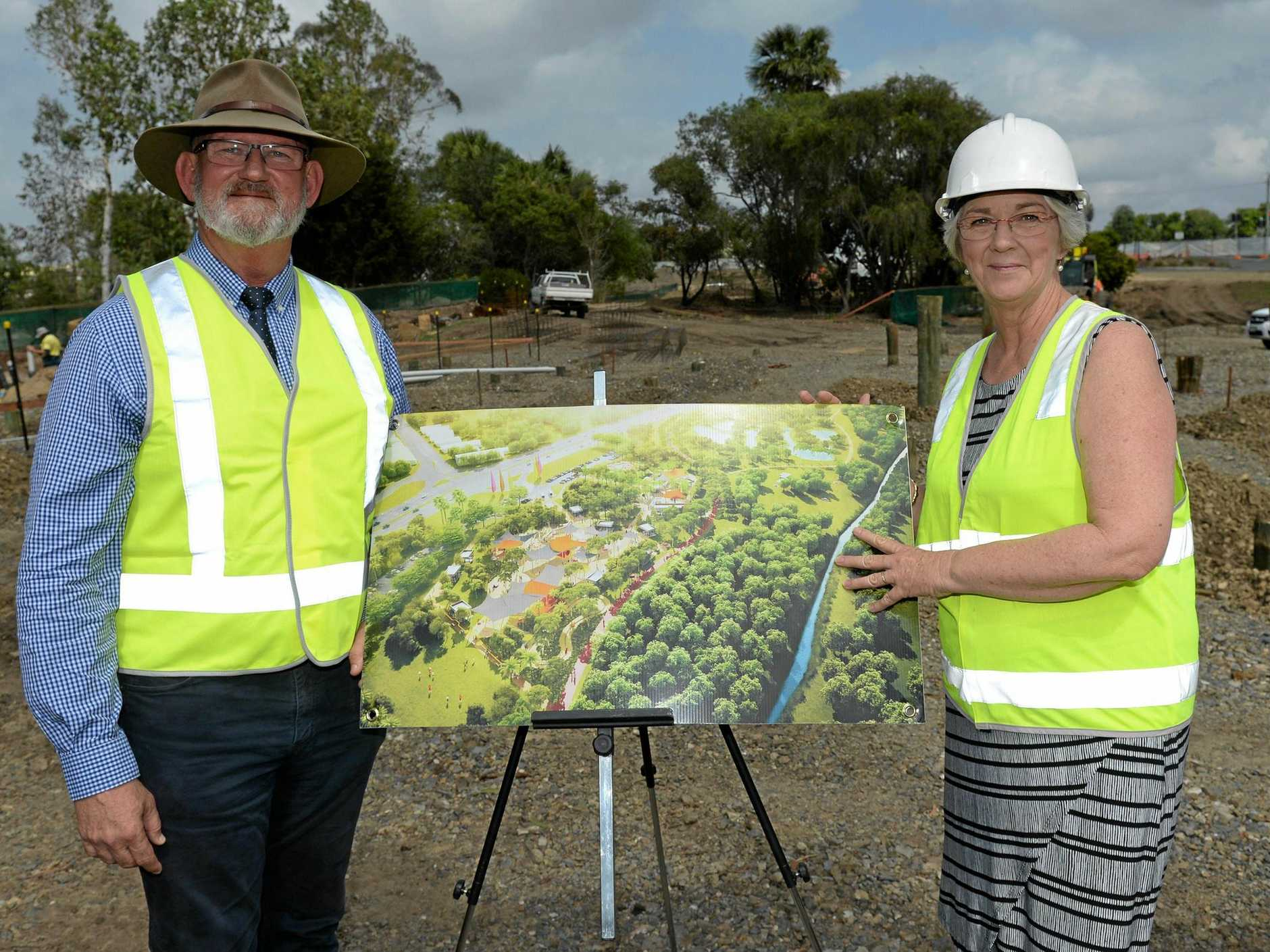 Bill Byrne (Member for Rockhampton) and Margaret Strelow (Mayor) at Kershaw Gardens just hours before he made the decision to step away from politics.