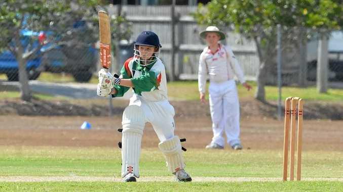 Joel McFarlane has a bat for U14 Walkerston as Mackay Junior Cricket got underway at Harrup Park on Saturday morning.