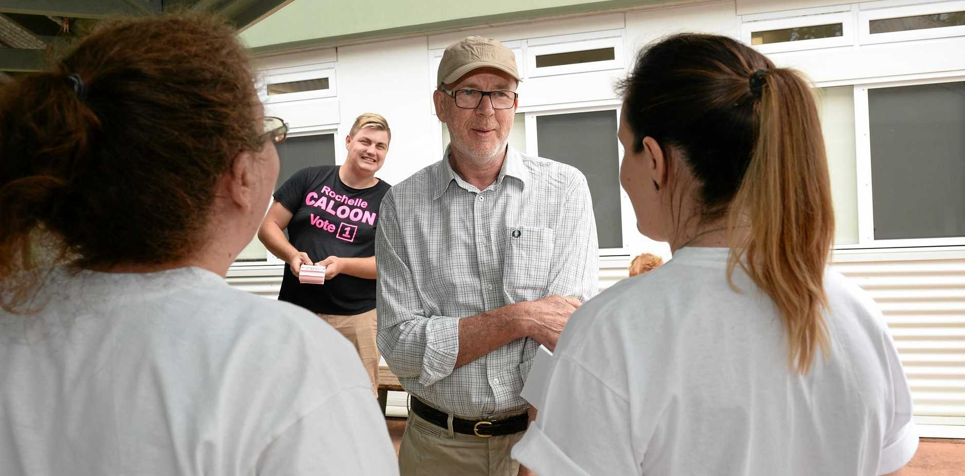 STRONG COMPETITOR: By-election candidate Jim McKee at Ipswich West State School on polling day. His failure to do better in Raceview proved costly.