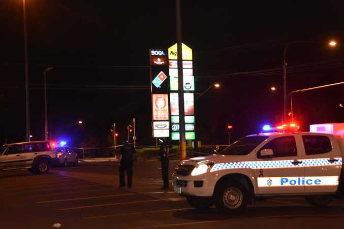 A man has been rushed to hospital after he was stabbed at the Night Owl Center in West Gladstone on Saturday night.