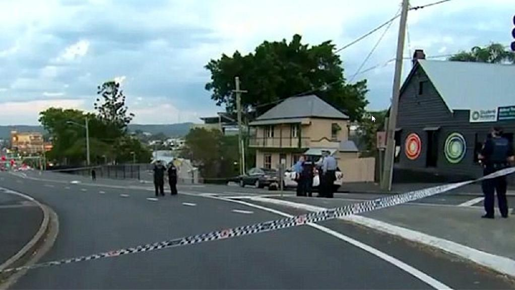 The scene of yesterday's fatal stabbing at the top of Milton Rd near Petrie Terrace. Picture: Channel 9
