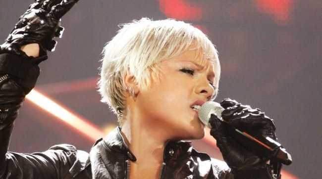 Singer Pink in concert during her Funhouse tour in Sydney.