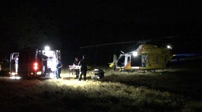 A 21-year-old French tourist was airlifted to Mackay Base Hospital after falling into a fire.