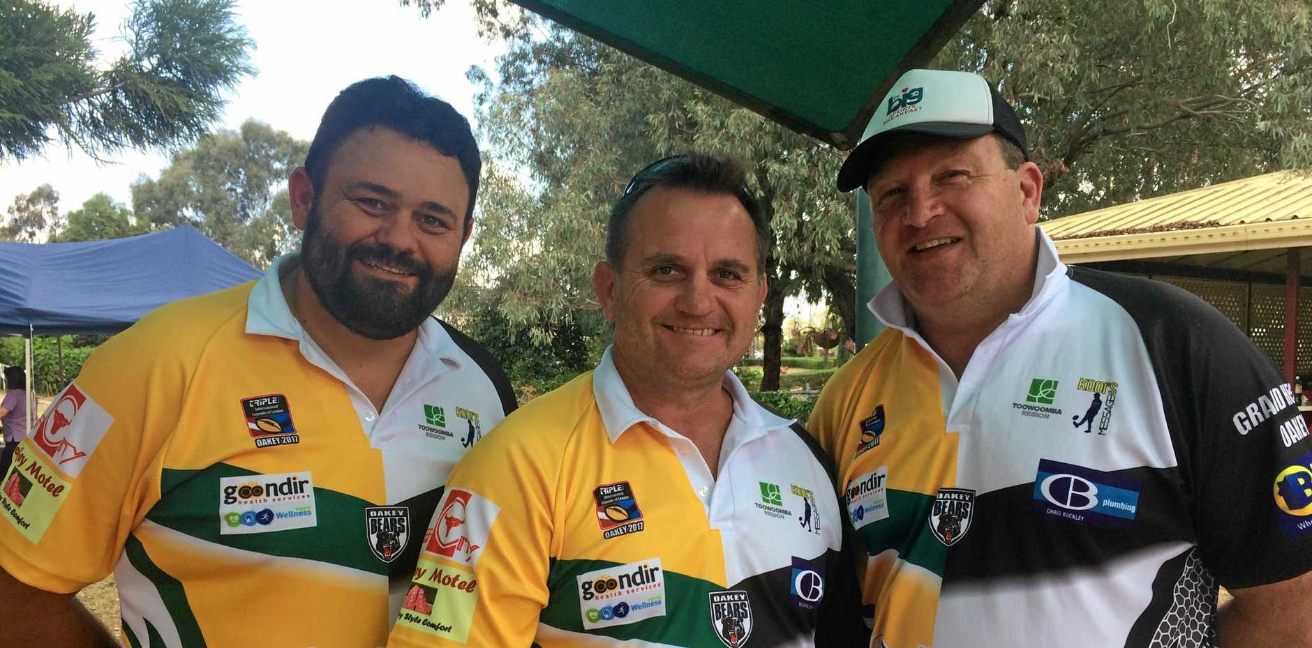 Legends of League All Australian players Mark Tookey, Craig Teeven and Craig Wilson are ready to take on the Oakey Bears All Stars tonight at Trevor Mickleborough Oval.