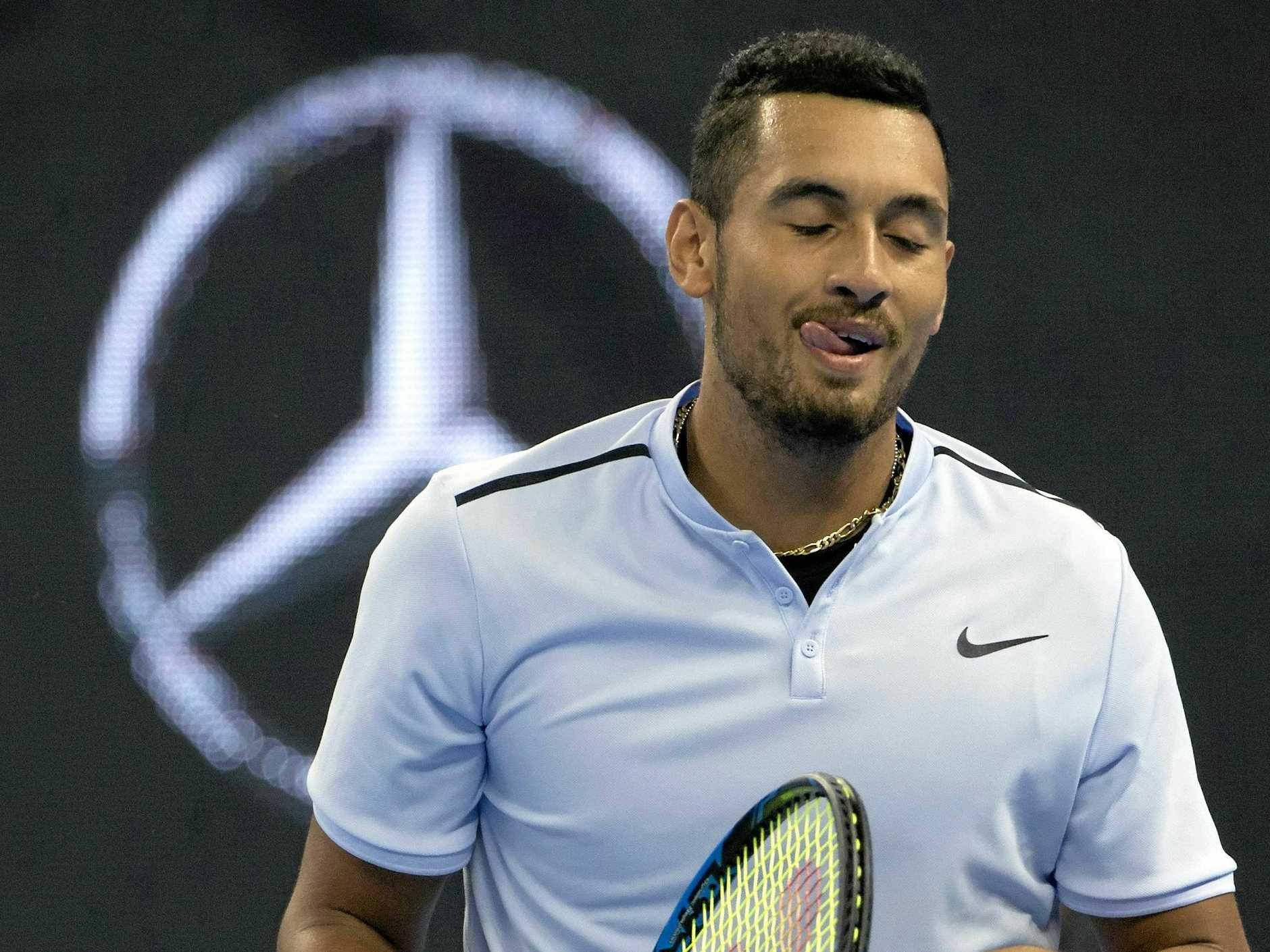 Kyrgios looks relaxed during his comfortable win over Zverev.