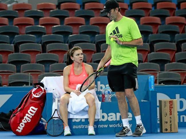 Simona Halep with coach Darren Cahill.