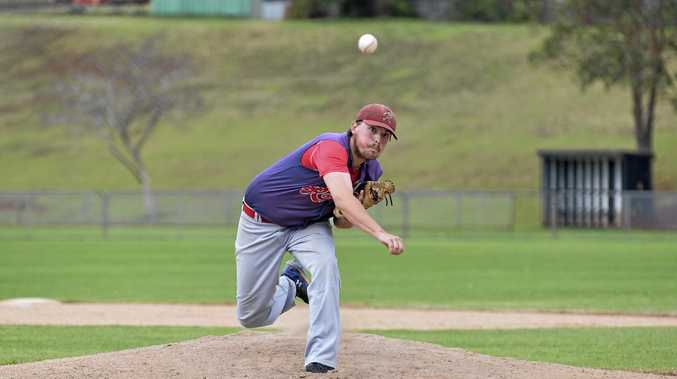 Toowoomba Rangers' Nathan Drewes pitches for the first time in division one against Pine Hills.