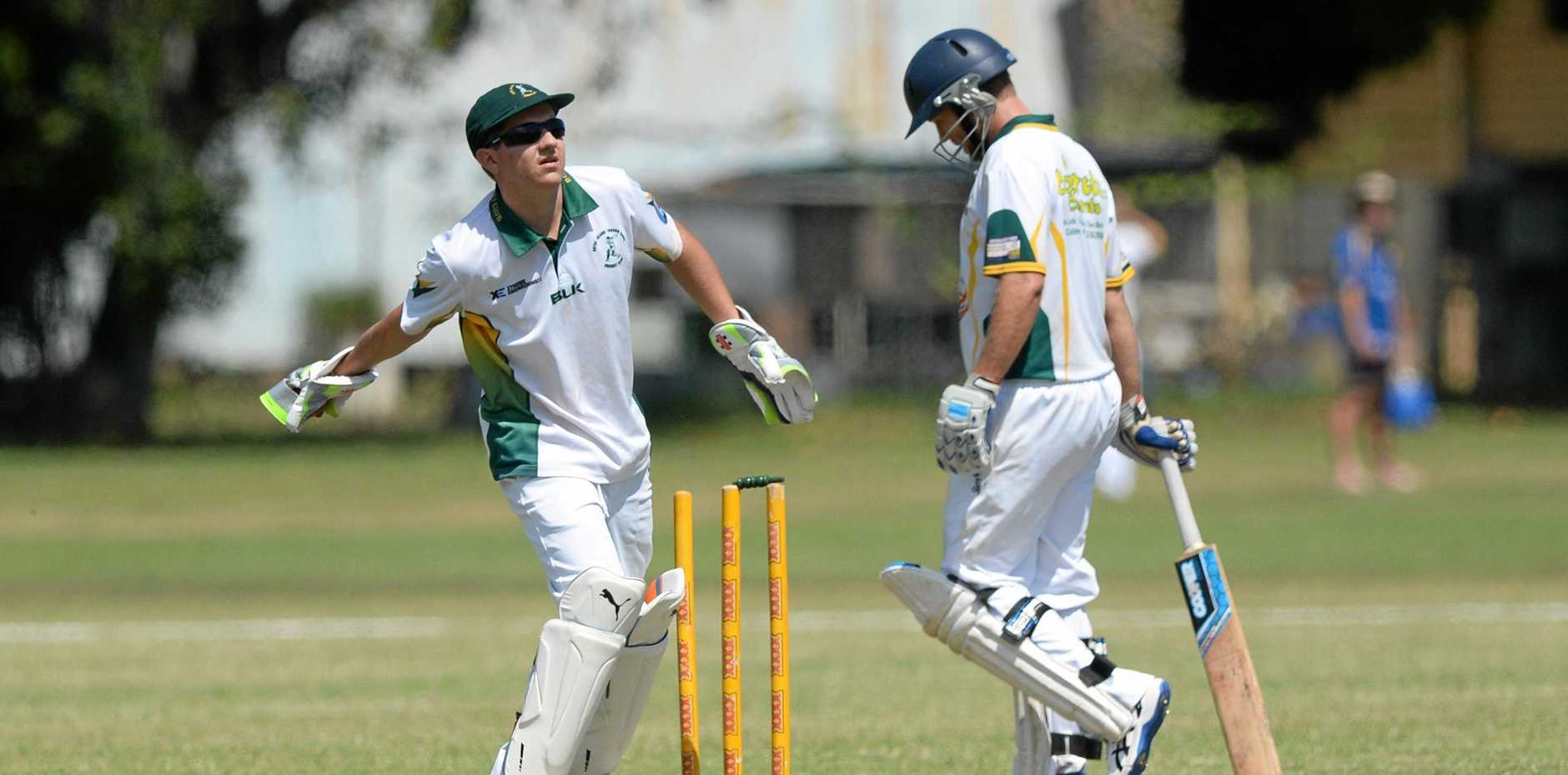 BITS wicketkeeper Callum Dominguez in the A-Grade game against Gracemere in Rockhampton.