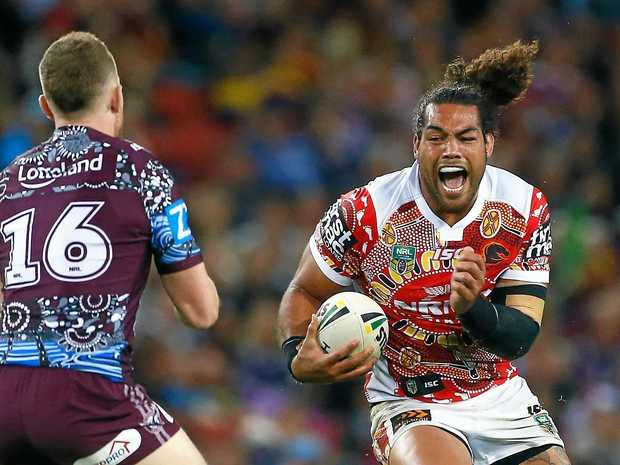 AT THE DOUBLE: Adam Blair in action for the Broncos against Manly in a double header last season.