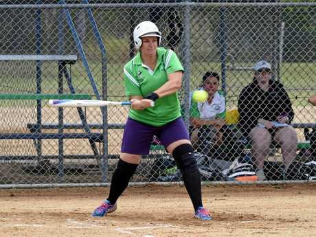 Bargara's Amanda Elder in the Hervey Bay Softball A-grade match Hervey Bay Terrors v Bargara at Hervey Bay.