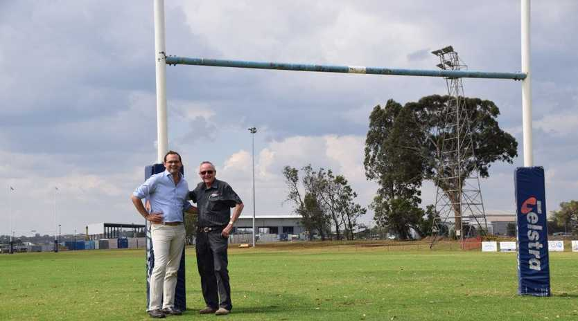 HAPPY DAYS: Member for Toowoomba South David Janetzki congratulates Brothers Toowoomba Junior Rugby League club president Garth Perkins on their successful $25,000 grant for a new electronic scoreboard.