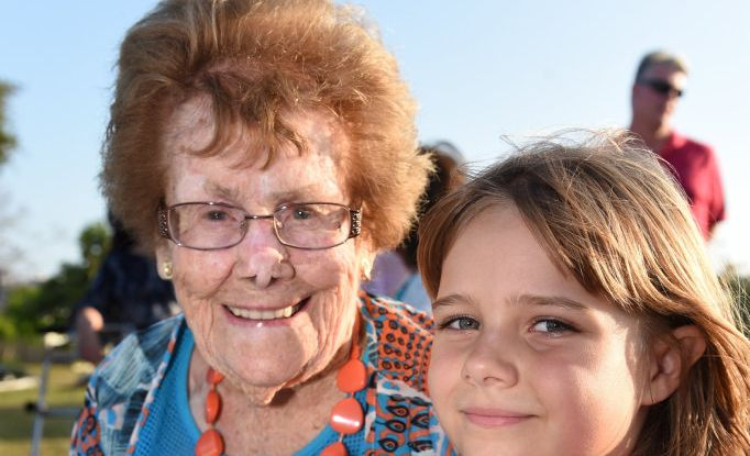 Cecilia Hynes celebrating her 100th birthday on the 10th of October. Pictured with great granddaughter, Rose Thoma,s who shares the same birth date and was born on the tenth of the tenth of the tenth, at a tree planting ceremony at the Elizabeth Park Rose Garden in Maryborough.