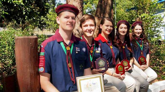 SHIP SHAPE: The five Noosa Sea Scouts are well prepared for life challenges.