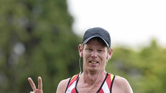 Matt Macdonald on his way to winning the Athletes Foot Roger Guard Toowoomba Marathon on Sunday.