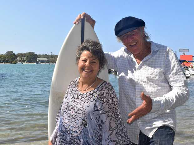STORY TELLERS: Wendy Harper and Ric Friar in Noosa to present their film Phenomenality and (inset) Noosa Beach in the 1950s.