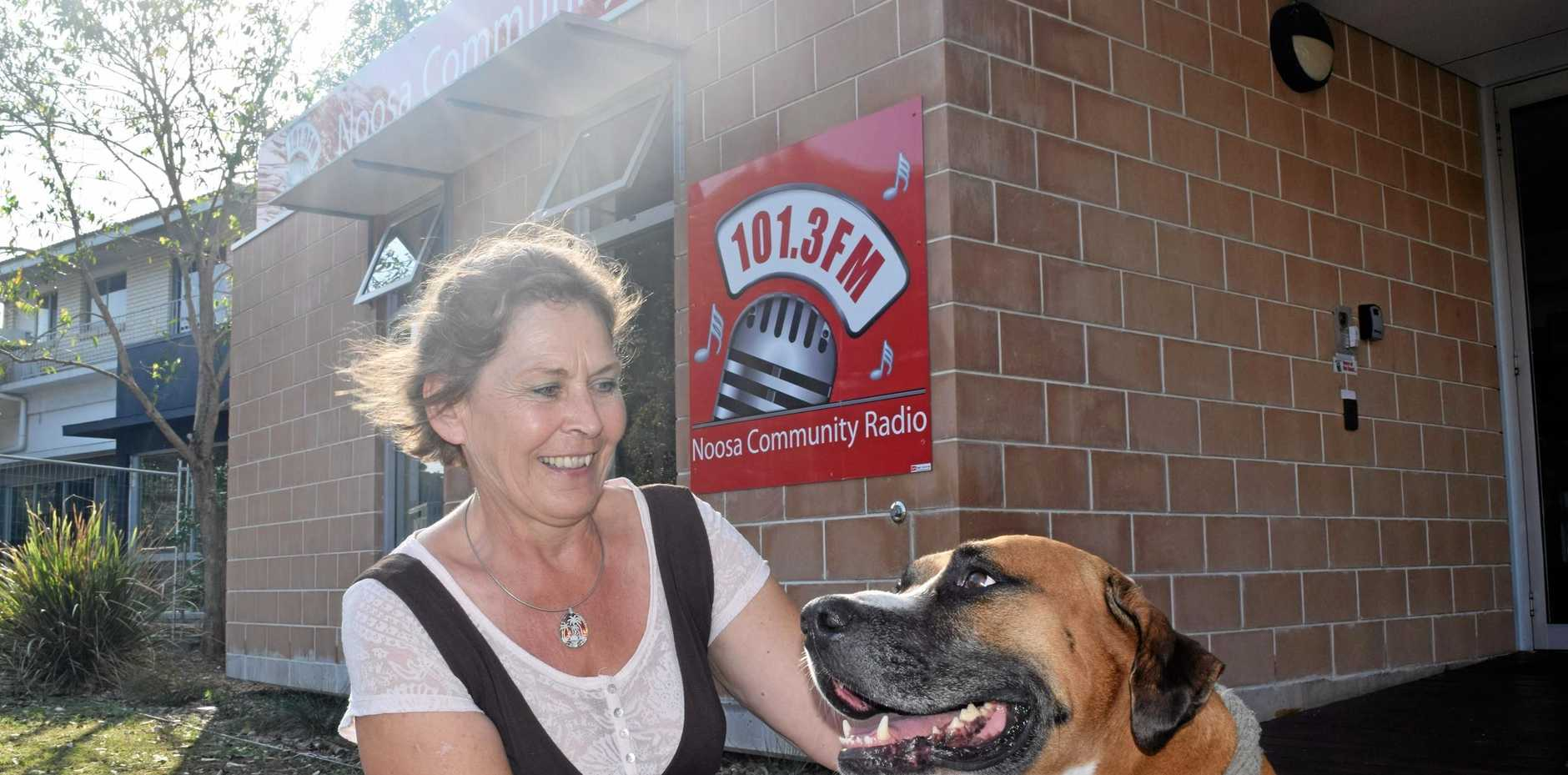 FRIENDLY: New Noosa Radio vice president and presenter Sibylle Reisch with local pet Benson.