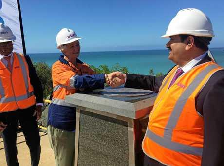 CONGRATULATIONS: Rockhampton Mayor Margaret Strelow shakes hands with Adani chairman Gautam Adani.