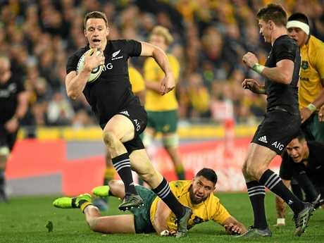 Ben Smith finds a break to run on and score against the Wallabies at ANZ Stadium in August.