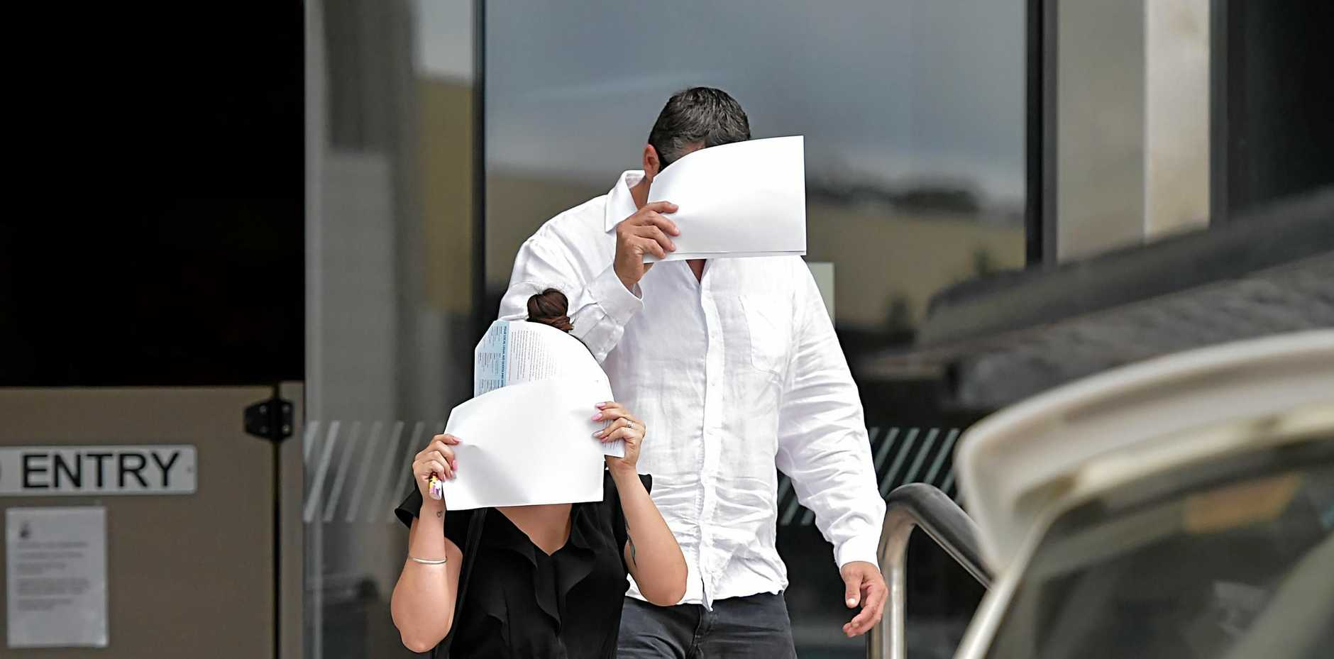 Darren Wayne Edwards and his daughter leave Maroochydore Court