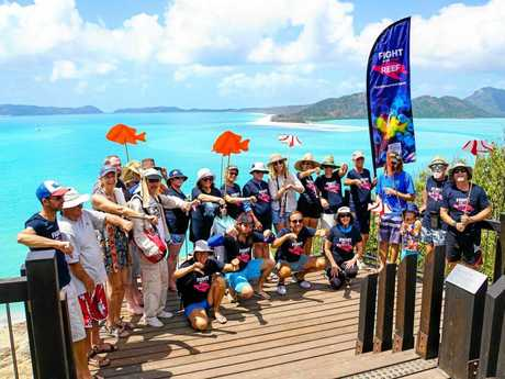 Anti-Adani protesters at Hill Inlet lookout on Saturday.