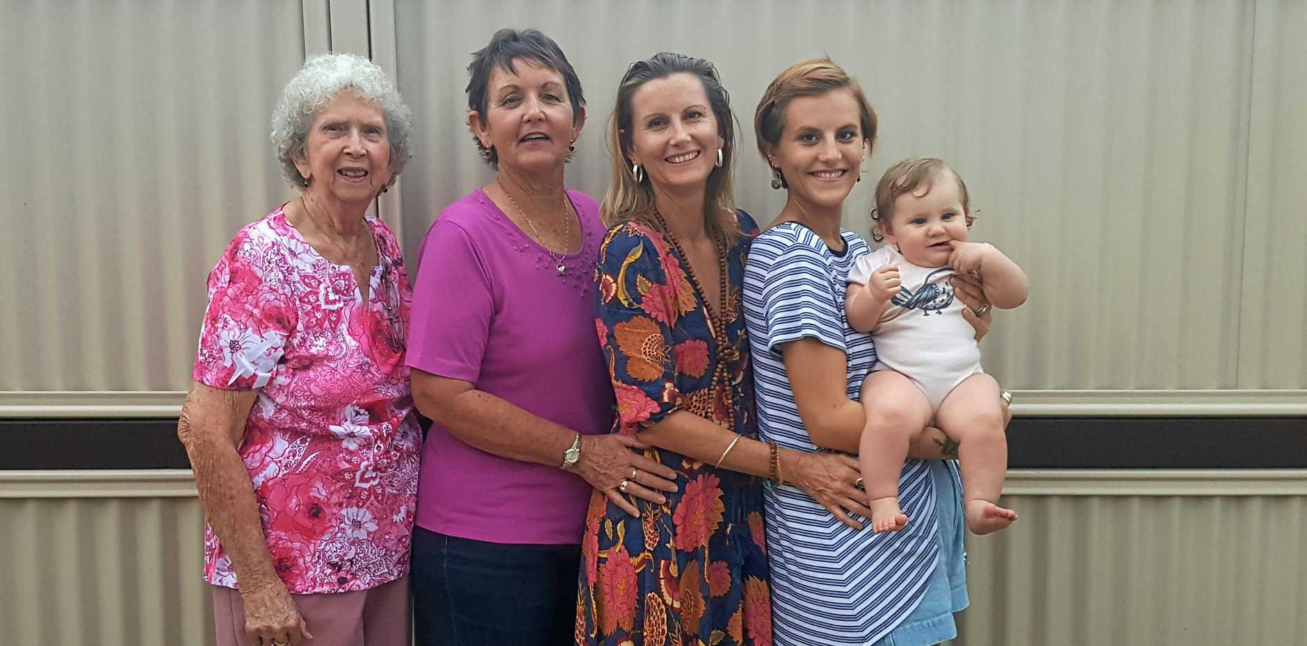 DYNASTY: Frida Roberts (eight months) with mother Alaina Roberts, 21, grandmother Katrina Lanzon, 44, great-grandmother Pamela Carter, 64, and great-great grandmother Mona Lees, 86.