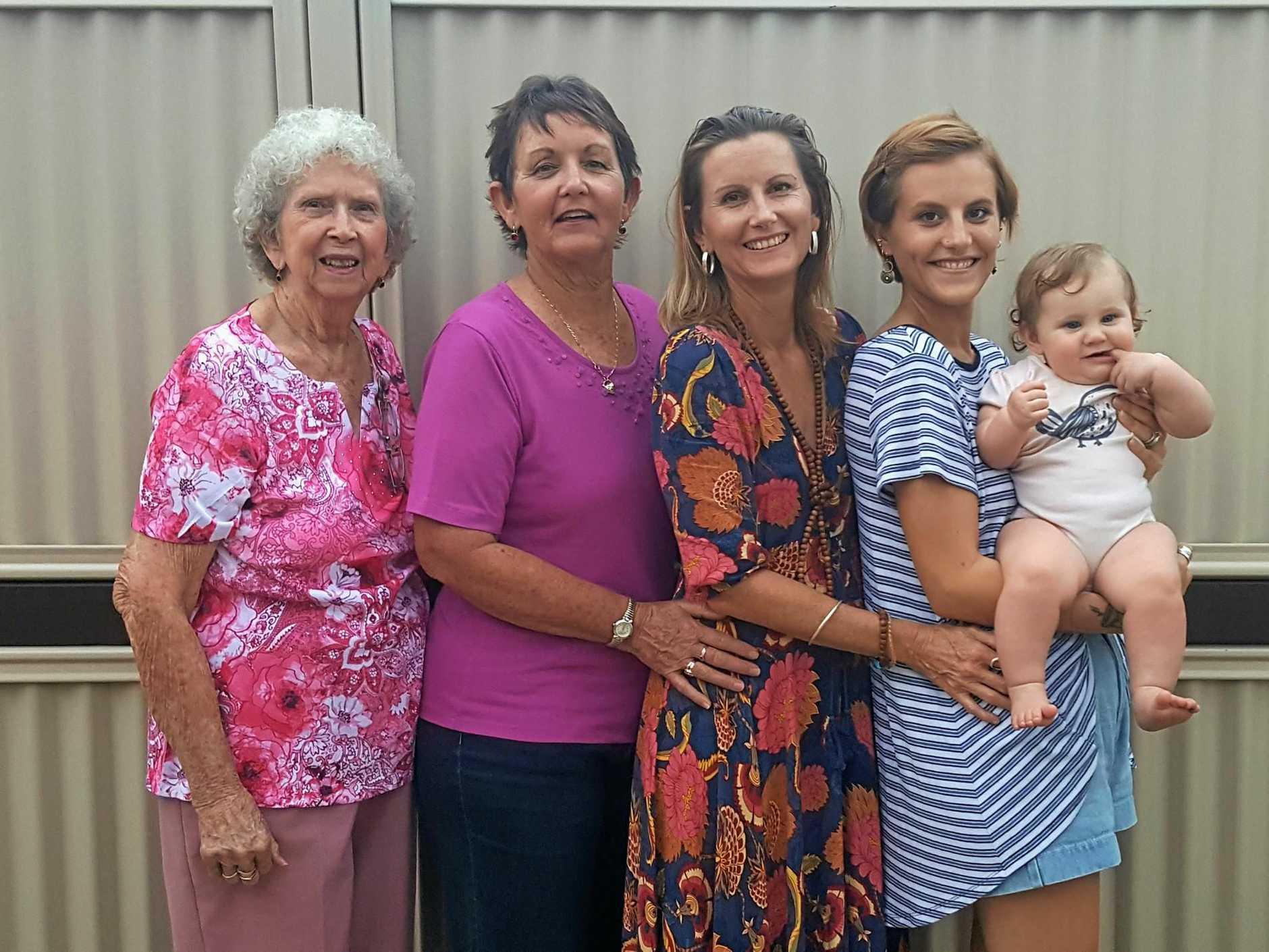 DYNASTY: Frida Roberts (eight months) with mother Alaina Roberts, 21, grandmother Katrina Lanzon, 44, great-grandmother Pamela Carter, 64, and great-great grandmother Mona Lees, 86.