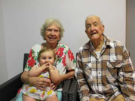 PROUD: Mona and Albert 'Bon' Lees with first great-great grandchild Frida Roberts.