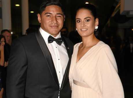 Jason Taumalolo with partner Liana La Riva at the Cowboys' awards night.