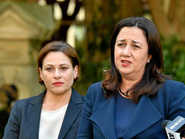 QUEENSLAND Premier Annastacia Palaszczuk (right) with her deputy Jackie Trad, will reveal her plans on Tuesday to introduce a ban on developer donations to state and local government election candidates.