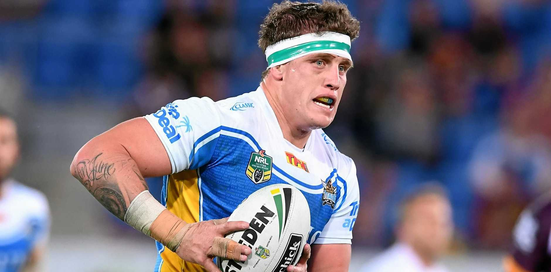 Titans player Jarrod Wallace during the Round 22 NRL match between the Gold Coast Titans and the Brisbane Broncos at Cbus Super Stadium in Robina on the Gold Coast, Saturday, August 5, 2017.
